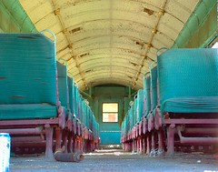 Bygone Era () Tags: county old railroad blue galveston history abandoned train island rust aqua texas purple pacific union neglected houston unionpacific passenger galvestonisland railyard passengertrain blueribbonwinner addictedtoflickr galvestoncounty mywinners