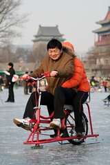 Ice Bicycle (China Chas) Tags: china people lake ice bicycle frozen skating beijing chinesenewyear 2006  houhai lunarnewyear springfestival