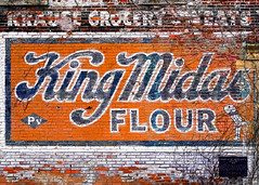 King Midas Flour (Todd Klassy) Tags: brick wall advertisement flour store supermarket orange old history sign peeling colour color wi wisconsin aging paint antique artifact outdoors stockphotography fineart kingmidasflour oldbricksign oldsign paintedwall brickwall madisonwisconsin vintage oldfashioned willystree urbanscene oldschool horizontal colorimage buildingexterior outdooradvertising grocerystore krausegrocerymeats landmark historic signage vibrantcolors vividcolors historicallandmark yesteryear nobody nopeople city town neglect longgone business company smallbusiness outofbusiness grownover madisonphotographer toddklassy madisondocumentaryphotographer madisonscenes cityofmadison wisconsinhistory outofhomeadvertising ad agency billboard commercial food street consumers building side wallscape williamsonstreet