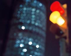 CITY NIGHT LIGHTS (the patient sergi) Tags: barcelona light red tower yellow rojo traffic amarillo agbartower torreagbar semforo agbar