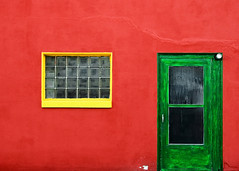 Beyond the Green Door (Todd Klassy) Tags: street door old travel red abstract color colour building green window glass yellow horizontal wall wisconsin architecture facade peeling pattern sill backalley flat vibrant fineart rustic entrance dirty crack forbidden saturation backgrounds material portal block brightcolors minimalism ornate redwall decor wi inviting oldbuilding smalltown bold textured obsolete glassblock rundown backdoor greendoor traditionalculture glassbricks tren paintedwall tore stockphotography complimentarycolors urbanscene mayville colorimage aggregates crackedwall crackinthewall outsideof exteriorwall wisconsinphotographer builtstructure brightlypainted mayvillewisconsin brightwall paintingover toddklassy beyondthegreendoor glossingover