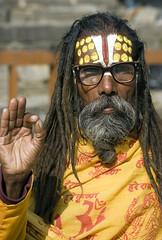 Spectacled sadhu in Kathmandu - by Dey