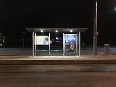 University of Nottingham tram stop (Dradny) Tags: winter isolated night shelter transportation work poetry travel tram nottingham