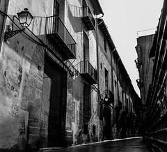(C-47) Tags: city bw black white street valencia valence light architecture shadows empty emptiness