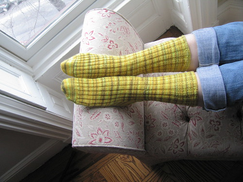 Yellow Rib Sock