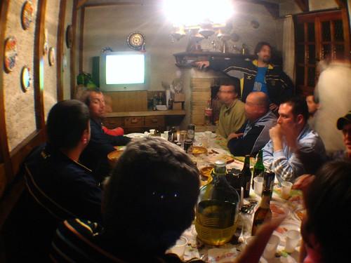 Italian soccer hooligans in Cernignano, Italy