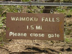 Waimoku Falls Trail sign
