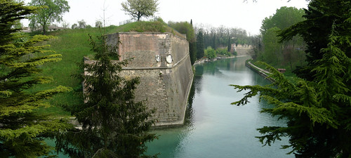 Old city walls and moat in Peschiera, Italy