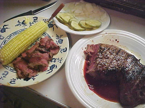 London Broil (Rare, but cooked) and Corn-On-The -Cob