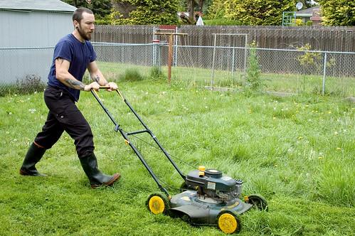 manly mowing man