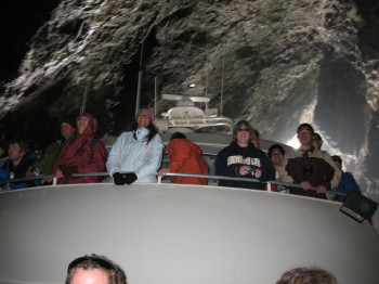 The boat inside painted cave