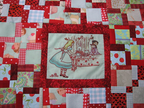 red & aqua doll quilt challenge