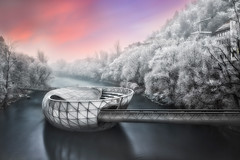 Frosty morning (Bernhard Sitzwohl) Tags: mur acconci river sunrise pink sky frost december dawn