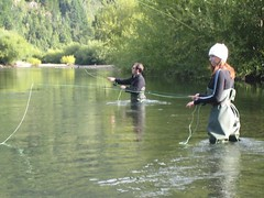 Lou and Julee fly-fishing. Pucon, Chile