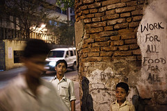 Night Corner - Kolkata, India (Maciej Dakowicz) Tags: street city travel food india tourism night work children indian slogan kolkata calcutta westbengal sudder
