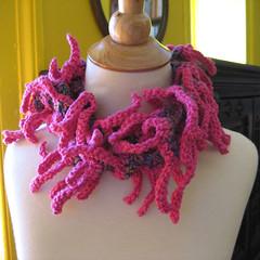 Zany Zinnia Scarf (KnittingGuru) Tags: scarf crochet cotton multicolor scarflet fucshia
