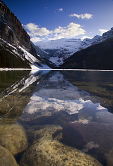 Lady Louise (Ar'alani) Tags: park travel snow canada mountains reflection ice nature water clouds landscape rocks clear national alberta banff lakelouise naturesfinest flickrsbest abigfave hoyamoose standardviewpoint