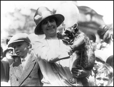 grace coolidge with pet raccoon rebecca, 1923