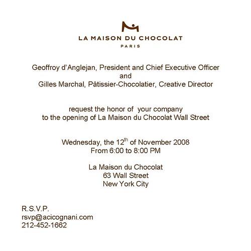 Invitation Opening La Maison du Chocolat