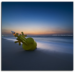 Phone Home... (DanielKHC) Tags: longexposure sea seascape beach interestingness high sand nikon dubai dynamic dusk uae explore bluehour range fp frontpage dri hdr buoy d300 jbr dynamicrangeincrease digitalblending buoyant danielcheong danielkhc vertorama buoyantspotlight tokina1116mm