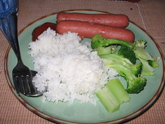 Hotdogs and Rice with Broccoli.
