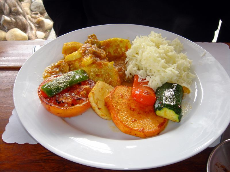 Fresh Sea Bass with Roasted Vegetables in Curry Sauce