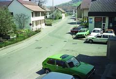 Wettingen 1984 (orangevolvobusdriver4u) Tags: schweiz switzerland gm garage 1984 aargau opel wettingen fiat128 vwgolf1 archiv1984