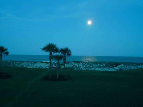 Moon over beach