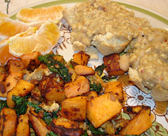 sweet potato hash and biscuits with tempeh sausage gravy