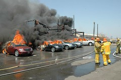 Fire destroys vacant building and dozens of cars in Atwater Village. © Photo by Mike Meadows