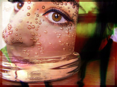Et si l'on partageait un verre en terrasse ? (lavomatic) Tags: eye face photoshop self autoportrait oeil reflet visage bulle verre perrier retouche