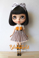 """""""Black and Gold Encore Dress"""" for Neo Blythe dolls (Chu Things) Tags: blythe neo takara tommy blythedoll doll custom work sewing miniature lace fabric care love chuthings handmade clothes"""