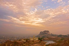 Jodhpur Through My Eyes (Tilak Haria) Tags: sunset sky india clouds fort rajasthan jodhpur jaswantthada pratibimbsangli merangarhfort savebeautifulearth jodhpurcity
