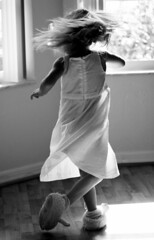 The happy dance (amberferrell) Tags: bw happy dance dress balckandwhite crazyhair top20flickrkids bunnyslippers twirling 3yearold blueribbonwinner top20kidhallfame abigfave superhearts spirittribe tc99dance