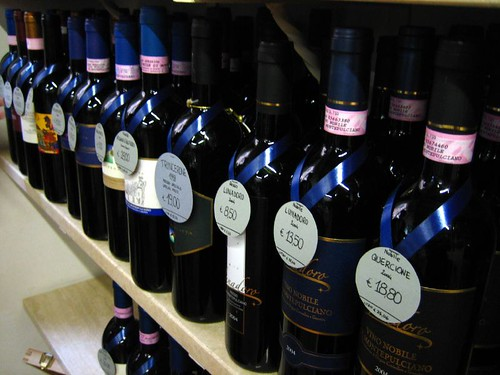 Wine in an Enoteca in Montepulciano