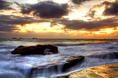 Golden Sunset at Burns Beach (Senrab4) Tags: sunset cold golden movement waves peace afterthestorm suburbia freezing windy perth serenity wonderous wa westernaustralia burnsbeach ilovewinter abigfave awashwithcolour