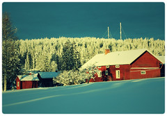 Evertsberg (johnarnebrekke) Tags: winter snow photoshop canon crossprocessed redhouse evertsberg