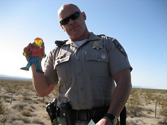 Flat Stanley got pulled over for speeding near Needles, CA. (04/07)