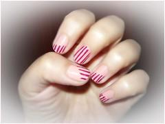 A stripes nail art (Valy ;)) Tags: nails nailart stripes babypink darkpink foto photo dia