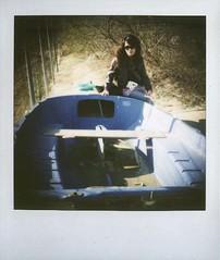 (Twiggy Tu) Tags: life trip venice trees sky italy woman cloud film polaroid sx70 boat venezia burano