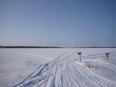 frozen lake in lapland (ezioman) Tags: blue winter white snow ice finland europa europe track view blu tracks arctic lapland azzurro snowmobile frozenlake lightblue lapponia winterview snowscenery snowmobiletrack