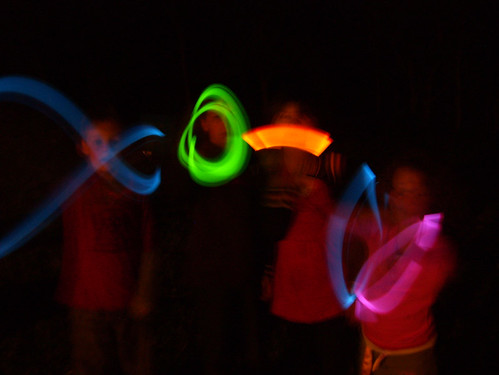 glowsticks at night