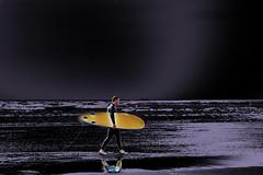 it's not all black! (blueeyeddebby) Tags: sea black reflection surf waves surfer surfboard interestingness120