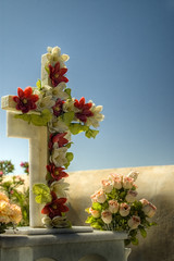 Cemetery in Oia, Santorini (stve) Tags: flowers sea roses church cemetery grave graveyard islands cross aegean santorini greece rememberance marble oia cyclades