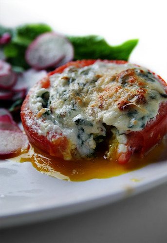 Egg, Goat Cheese & Bacon-Stuffed Tomato