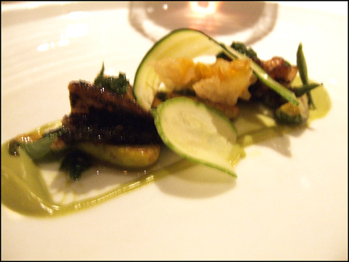 Manresa (Los Gatos) - Courgette and abalone salad, seaweed pistou