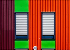 Orgères : Close your eyes (Hervé Marchand) Tags: blue abstract building green architecture colours couleurs bretagne minimal rennes urbain exterieur minimale abtraction canoneos7d