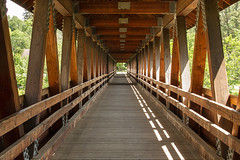 Optical illusion (bsouthj) Tags: trestle bridge building architecture newengland newhampshire deck trail walkway coveredbridge decking woodenbridge opticalillusion pedestrianbridge truss pedestrianwalkway