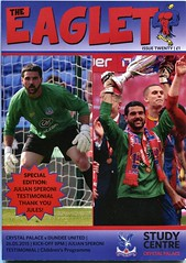 The Eaglet programme - Palace v Dundee FC (The Wright Archive) Tags: football julian crystal 26 dundee may palace childrens match fc versus programme eaglet goalkeeper testimonial 2015 cpfc speroni theeaglet