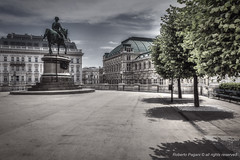 Albertina's terrace (A look through lens) Tags: vienna wien travel urban architecture landscape austria memorial europe cityscape palace location plugin desaturated lightroom photomatix tonemapping at perfectbw bwblended